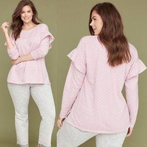 Lane Bryant Polka Dot Jacquard Ruffle Sweatshirt